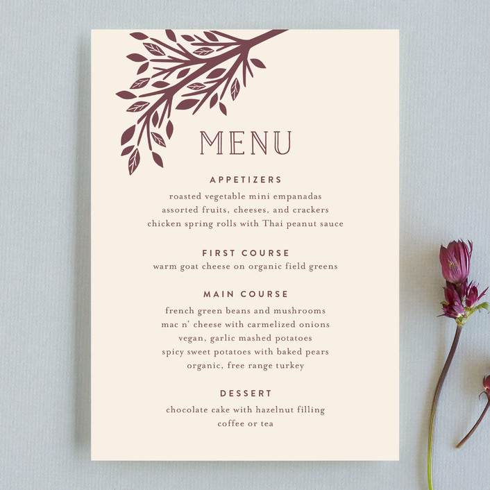 """Enchanted"" - Monogrammed, Rustic Menu Cards in Bark by Griffinbell Paper Co.."