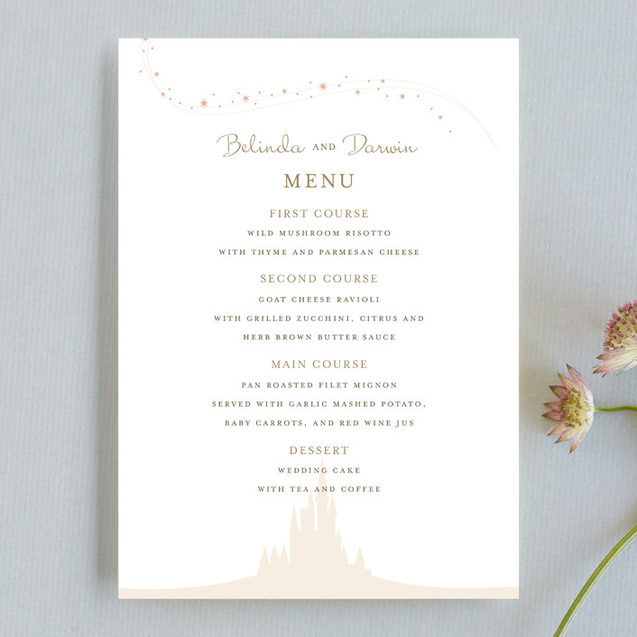 """""""Enchanted Stars"""" - Whimsical & Funny Menu Cards in Blossom by Jody Wody."""