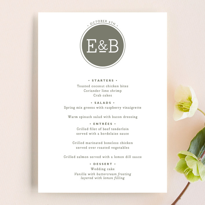 """Established"" - Modern, Monogrammed Menu Cards in Pewter by Alston Wise."