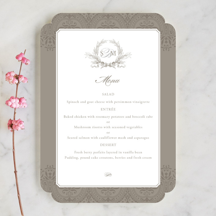 """Formalities"" - Classical Menu Cards in Warm Grey by Milkmaid Press."