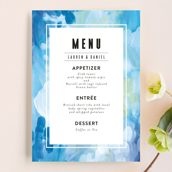 """Gallery Abstract Art"" - Menu Cards in Ocean by Alethea and Ruth."