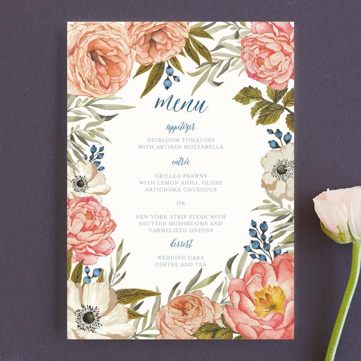 """Garden Rose"" - Floral & Botanical Menu Cards in Garden Rose by Wildfield Paper Co.."