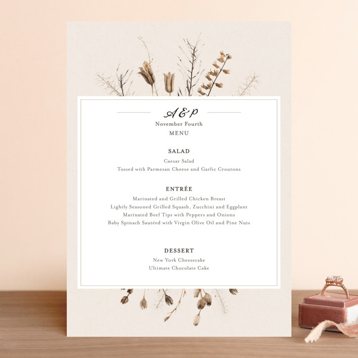 """""""Gone To Seed"""" - Bohemian Menu Cards in Taupe by Honeybunch Studio."""