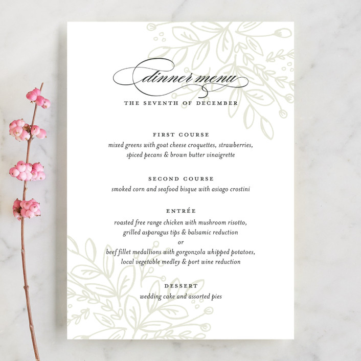 """""""Graceful"""" - Floral & Botanical, Elegant Menu Cards in Taupe by Jessica Williams."""