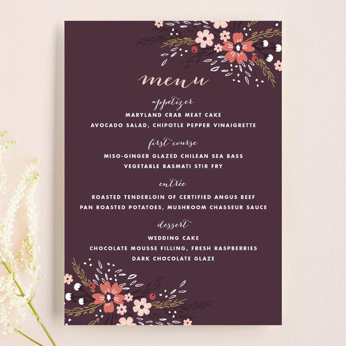 """""""Grand Fleur"""" - Floral & Botanical Menu Cards in Merlot by Kristie Kern."""