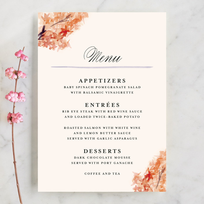 """""""Grecian Floral"""" - Floral & Botanical Menu Cards in Tulip by Olivia Kanaley."""