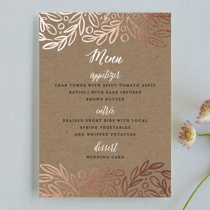 """""""Hidden Branches"""" - Rustic Menu Cards in Kraft by Alethea and Ruth."""