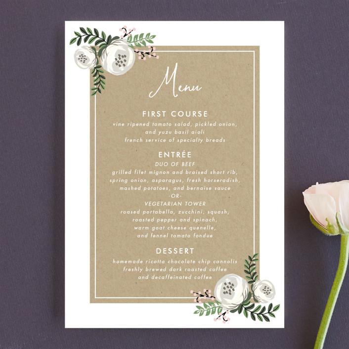 """Krafted Florals"" - Floral & Botanical Menu Cards in Blush by Lehan Veenker."