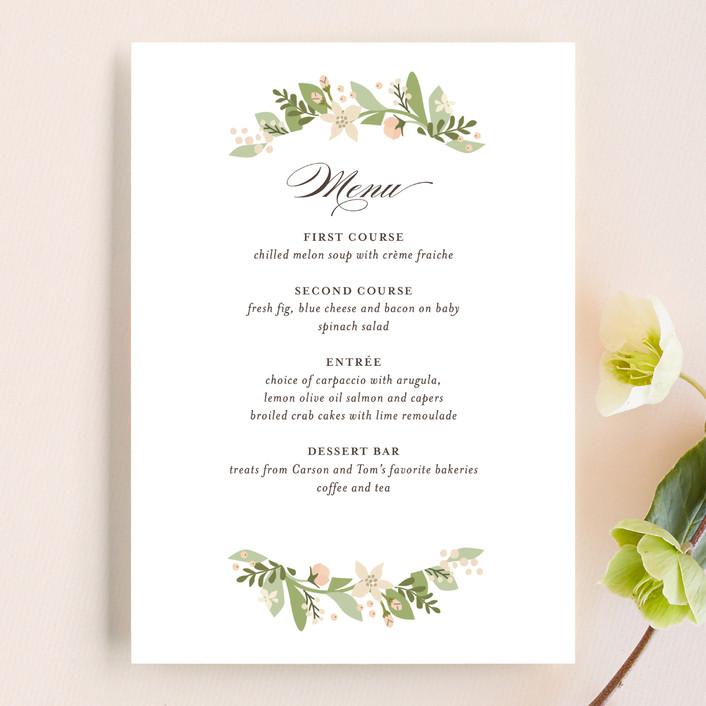 """Longwood Estates"" - Floral & Botanical, Elegant Menu Cards in Peach Sorbet by Jennifer Wick."