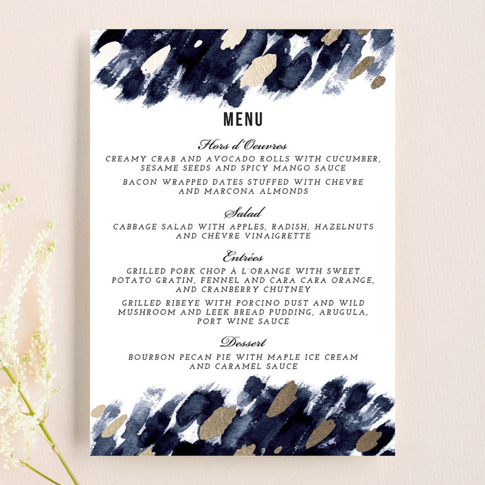 """Midnight And Gold"" - Abstract Menu Cards in Midnight by Papernoten."