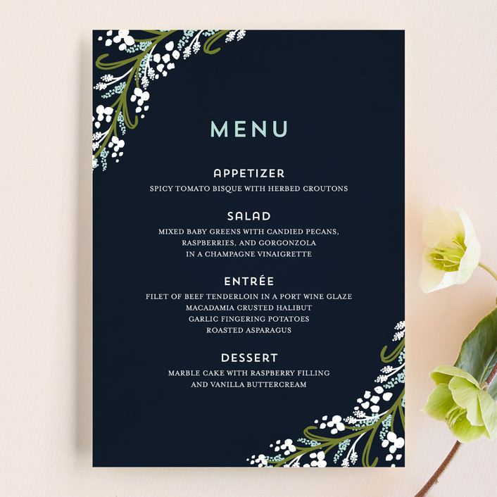 """Midnight Floral"" - Floral & Botanical, Rustic Menu Cards in Indigo by Angela Marzuki."