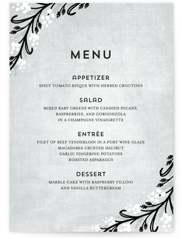 This is a portrait floral, rustic, blue, black Menus by Angela Marzuki called Midnight Floral with Standard printing on Signature in Classic Flat Card format. Give guests a sneak peek of the meal to come with these unique menus. All ...