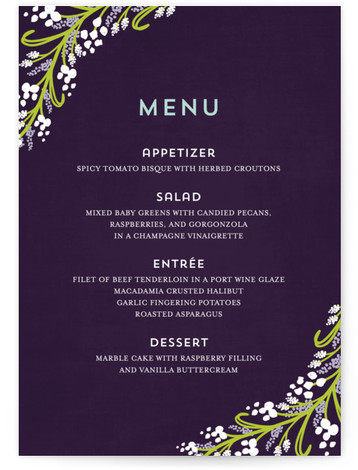 This is a portrait floral, rustic, purple, green Menus by Angela Marzuki called Midnight Floral with Standard printing on Signature in Classic Flat Card format. Give guests a sneak peek of the meal to come with these unique menus. All ...