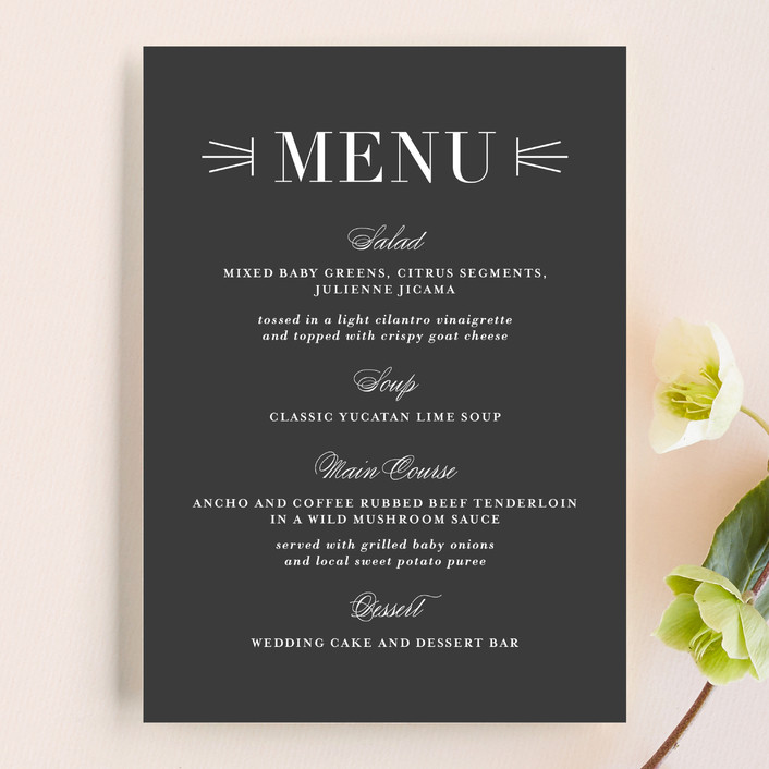 """Mingle"" - Bold typographic Menu Cards in Charcoal by Lauren Chism."