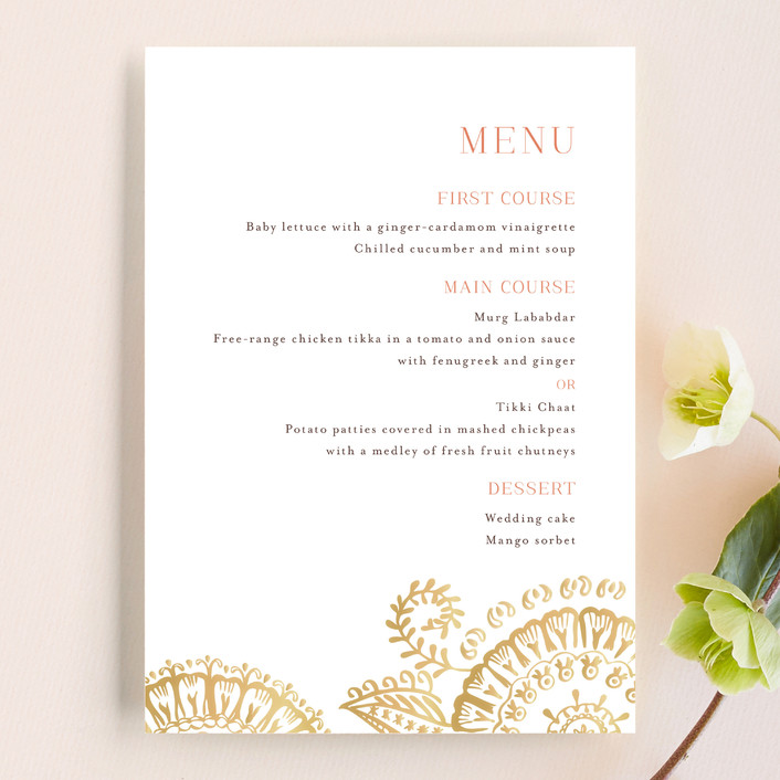 """Modern Mehndi"" - Modern Menu Cards in Gold by Laura Condouris."