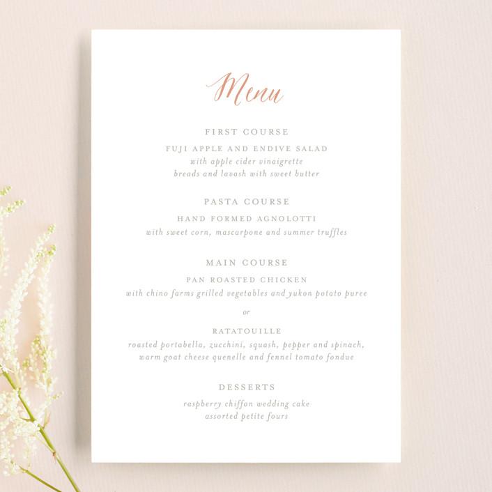 """""""Monogram Floral"""" - Monogrammed, Floral & Botanical Menu Cards in Peach by Lori Wemple."""