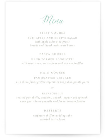 This is a portrait floral, monogrammed, green, grey Menus by Lori Wemple called Monogram Floral with Standard printing on Signature in Classic Flat Card format. Give guests a sneak peek of the meal to come with these unique menus. All ...