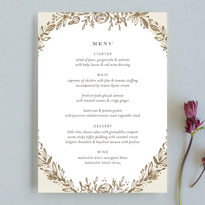 """Prettiest Wreath"" - Floral & Botanical Menu Cards in Musk by Phrosne Ras."