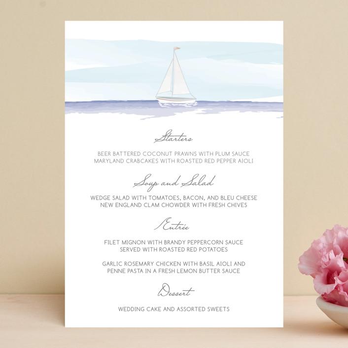 """""""Set Sail"""" - Beach, Destination Menu Cards in Mediterranean by Sarah Brown."""