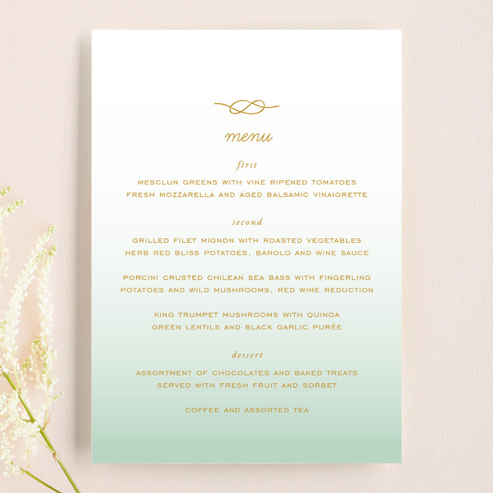 """Simple Knot"" - Simple, Beach Menu Cards in Mint by SimpleTe Design."