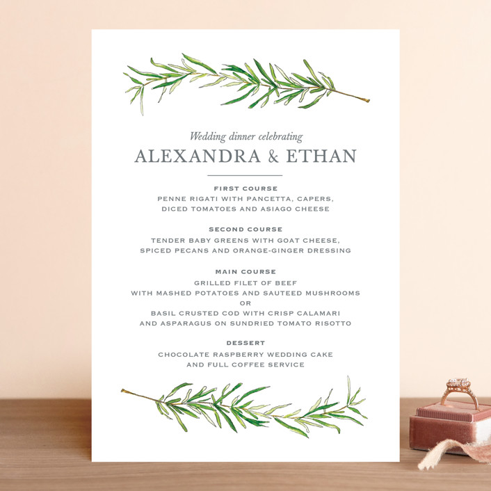 """Simple Sprigs"" - Menu Cards in Fern by Erin Deegan."