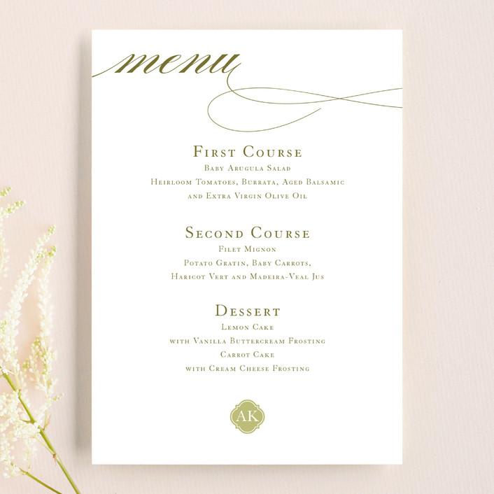 """""""Sloane"""" - Monogrammed, Elegant Menu Cards in Helios by Dauphine Press."""