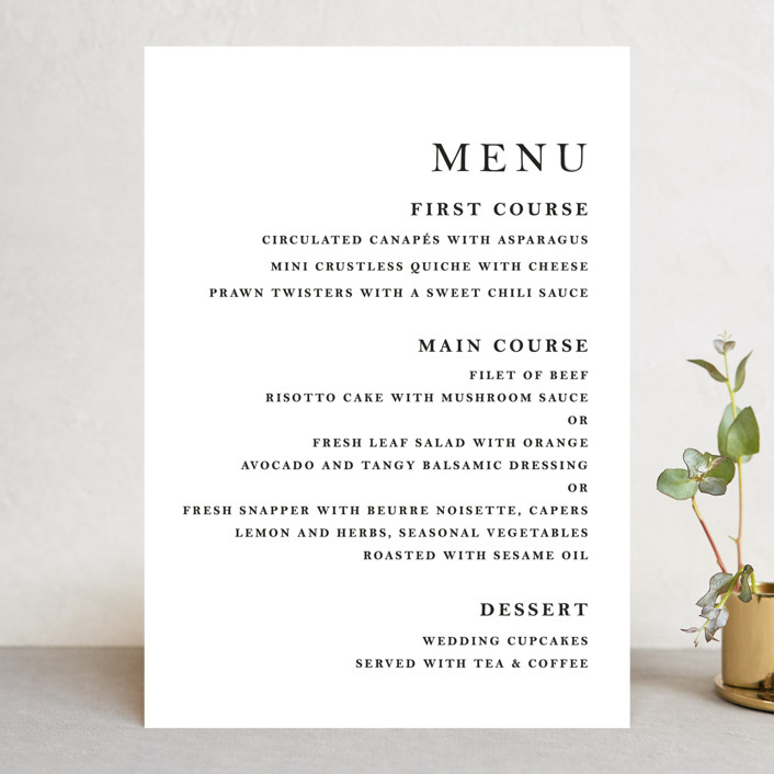 """Sophistotype"" - Simple, Monogrammed Menu Cards in Sea Salt by Snow and Ivy."