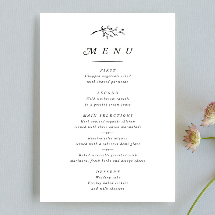 """""""Storybook Romance"""" - Simple Menu Cards in Cotton by Stacey Meacham."""