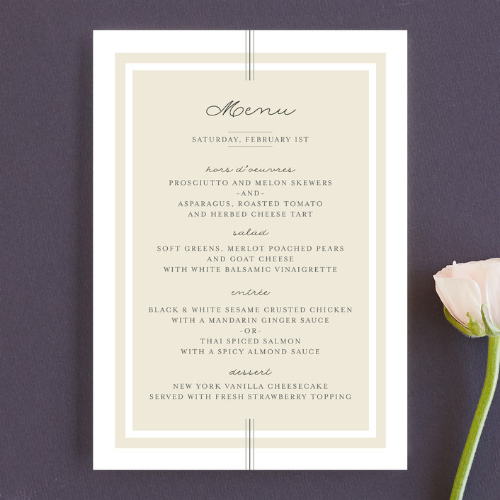 """""""Three Classic Lines"""" - Formal, Classical Menu Cards in Barley by fatfatin."""
