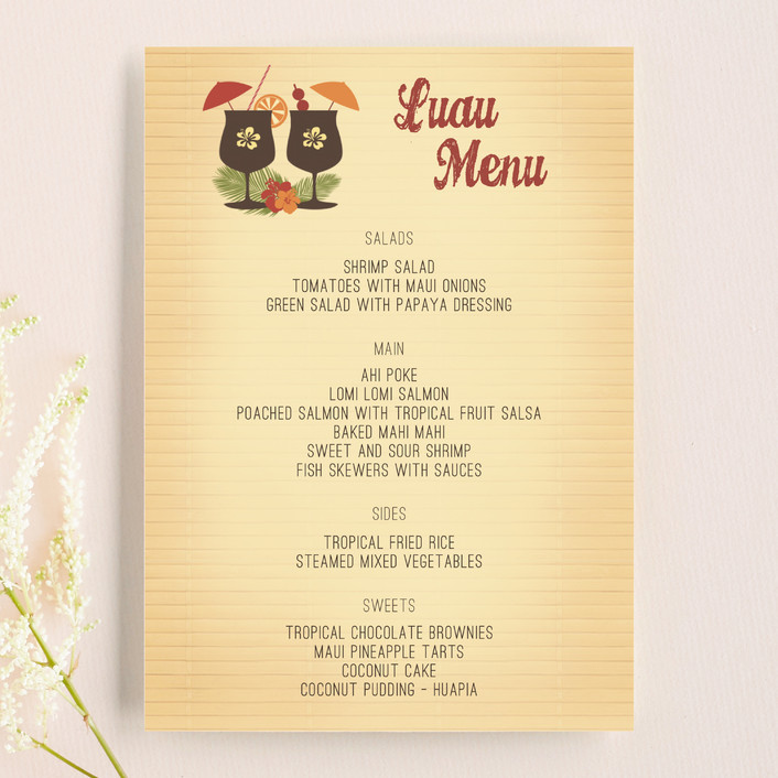 """Tiki Luau"" - Whimsical & Funny, Destination Menu Cards in Cherry by BeachPaperCo."