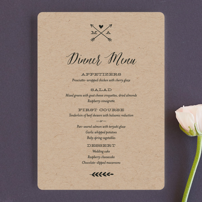 """""""With Joy"""" - Bold typographic Menu Cards in Bowtie by Eric Clegg."""