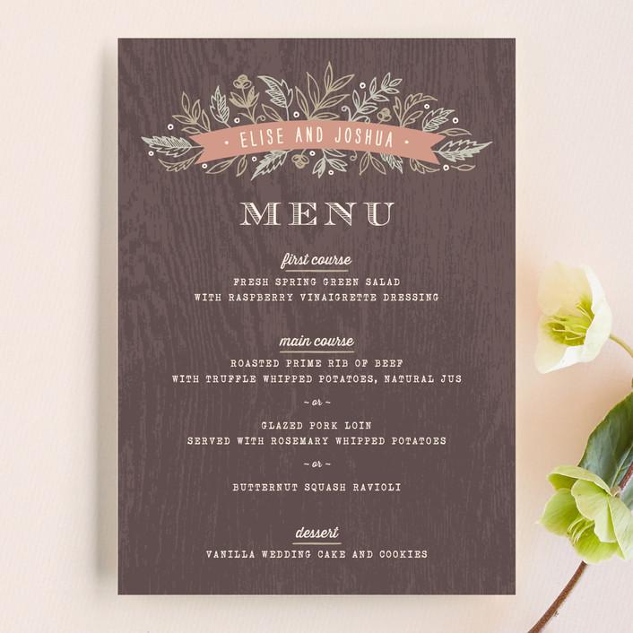 """Woodland Romance"" - Rustic Menu Cards in Walnut by Hooray Creative."