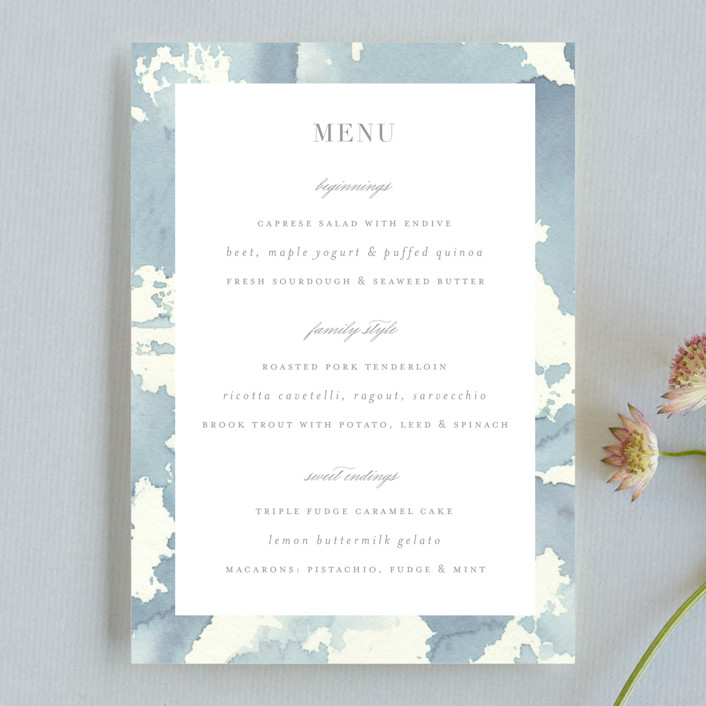 """""""Reverie"""" - Menu Cards in Periwinkle by Sara Hicks Malone."""