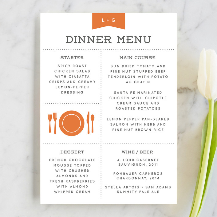"""Celebrate the Day"" - Whimsical & Funny Menu Cards in Persimmon by Michelle Taylor."