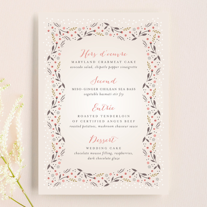 """Classic Garden"" - Floral & Botanical Menu Cards in Poppy by Kristie Kern."