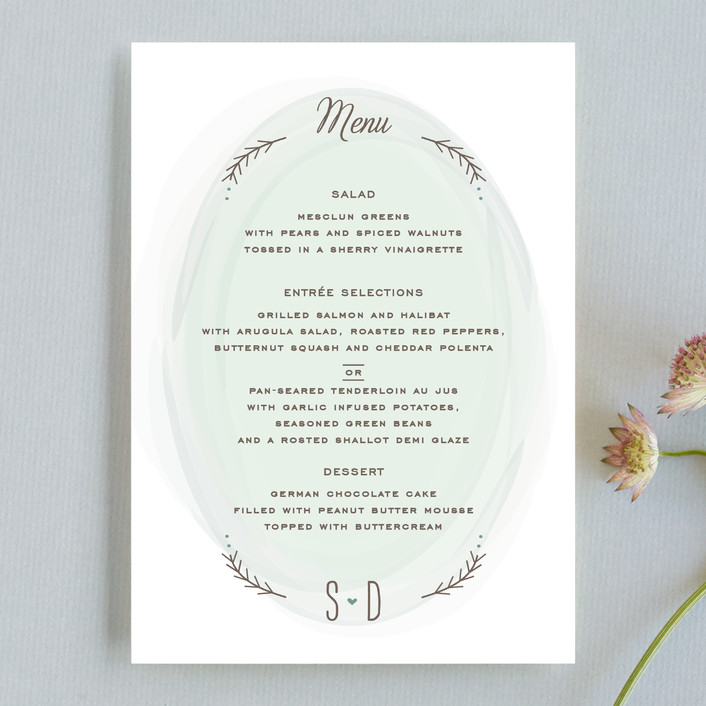 """Romantic Whisper"" - Whimsical & Funny, Rustic Menu Cards in Sky by Jennifer Postorino."