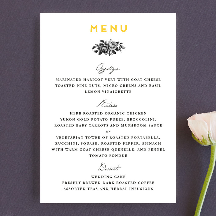 """""""Bouquet Monogram"""" - Monogrammed, Floral & Botanical Menu Cards in Sunflower by Chryssi Tsoupanarias."""