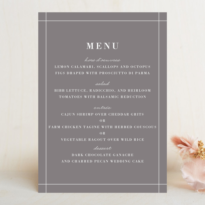 """""""Evening Bloom"""" - Menu Cards in Eggplant by Snow and Ivy."""