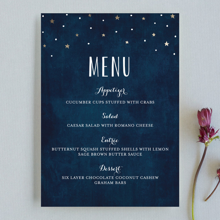 """Love you to the Moon and Back"" - Whimsical & Funny, Rustic Menu Cards in Night Sky by Chasity Smith."