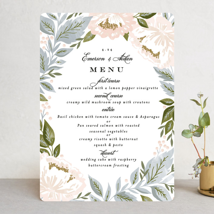 """""""Peony Floral Frame"""" - Menu Cards in Cornflower by Alethea and Ruth."""