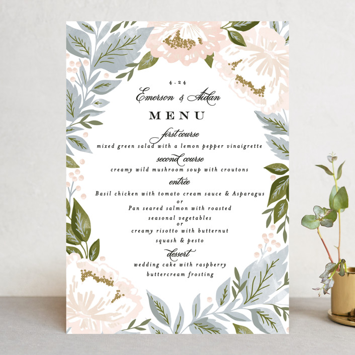 """Peony Floral Frame"" - Menu Cards in Cornflower by Alethea and Ruth."