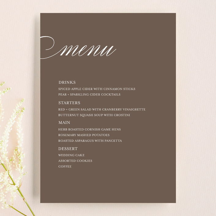 """Sweet Scallop"" - Classical Menu Cards in Taupe by annie clark."
