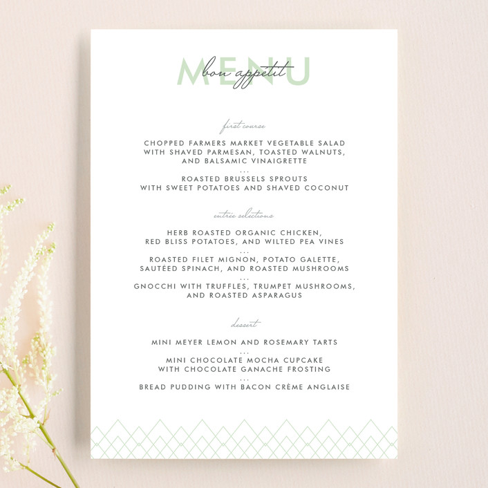 """""""Viva Las Marriage"""" - Simple, Bold typographic Menu Cards in Soft Leaf by Candice Leigh."""
