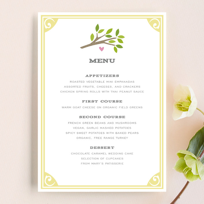 """Going to the Chapel"" - Bold typographic, Whimsical & Funny Menu Cards in Spring by Griffinbell Paper Co.."