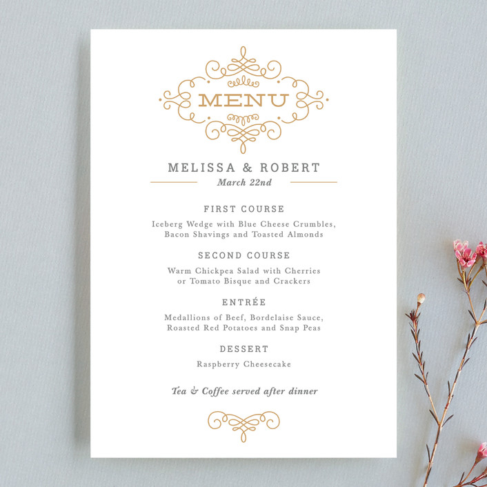 """Ornate Monogram"" - Monogrammed, Formal Menu Cards in Faux Gold by Kristen Smith."