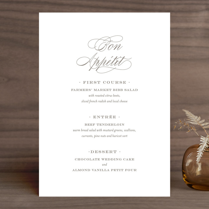 """Field"" - Simple, Elegant Menu Cards in Ash by Toast & Laurel."