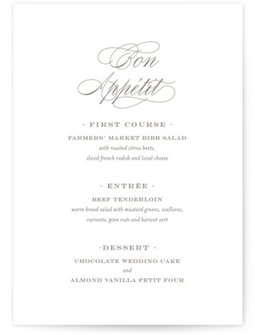 This is a portrait classic and formal, elegant, simple, simple and minimalist, grey Menus by Toast & Laurel called Field with Standard printing on Signature in Classic Flat Card format. Give guests a sneak peek of the meal to come ...