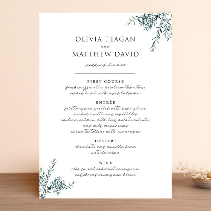 """Fresh Sage"" - Menu Cards in Olive by Christie Kelly."