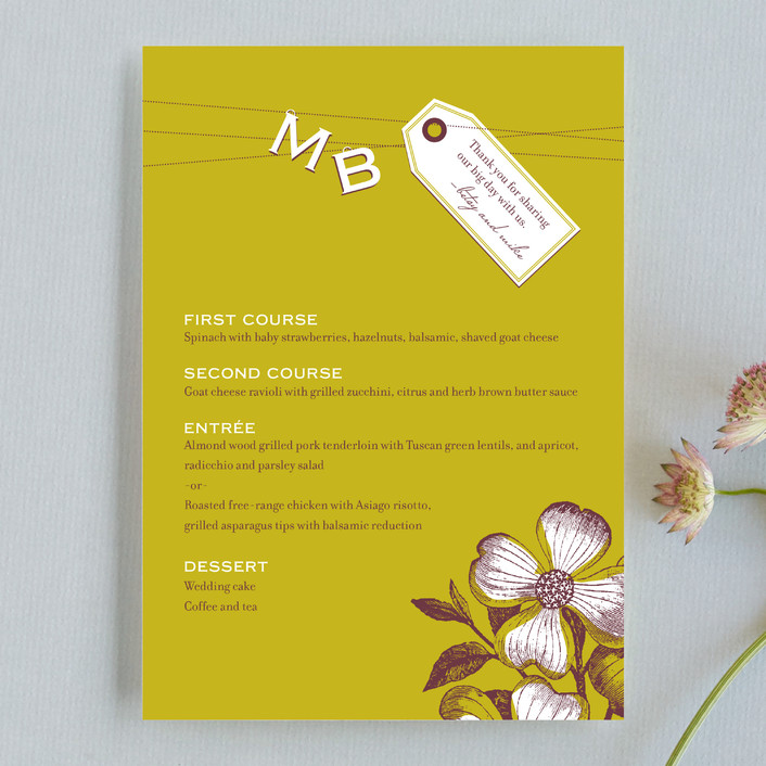 """Charmed"" - Monogrammed, Floral & Botanical Menu Cards in Avocado by Oscar & Emma."