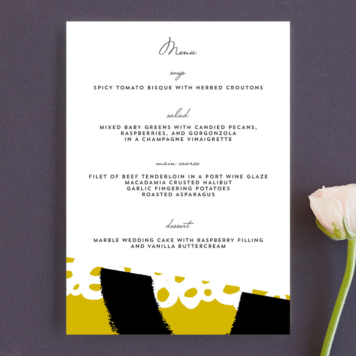 """""""the modernists"""" - Modern, Abstract Menu Cards in Mustard by Angela Marzuki."""